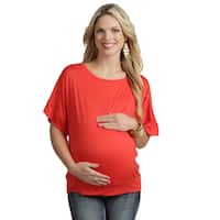 24/7 Comfort Apparel Women's Maternity Banded Dolman Top