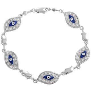 Journee Collection  Sterling Silver Cubic Zirconia Enamel Hamsa Evil Eye Bracelet