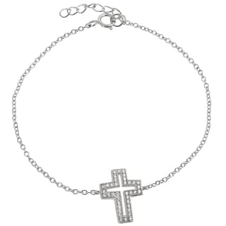 Journee Collection Sterling Silver Cubic Zirconia Holy Cross Bracelet
