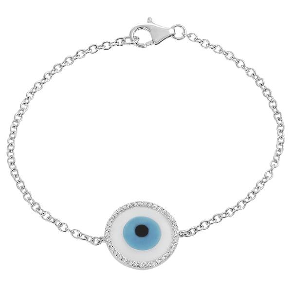 Journee Collection  Sterling Silver Cubic Zirconia Enamel Hamsa Evil Eye Bracelet