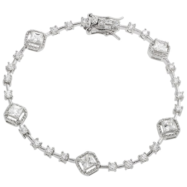 Journee Collection  Sterling Silver Cubic Zirconia Tennis Bracelet