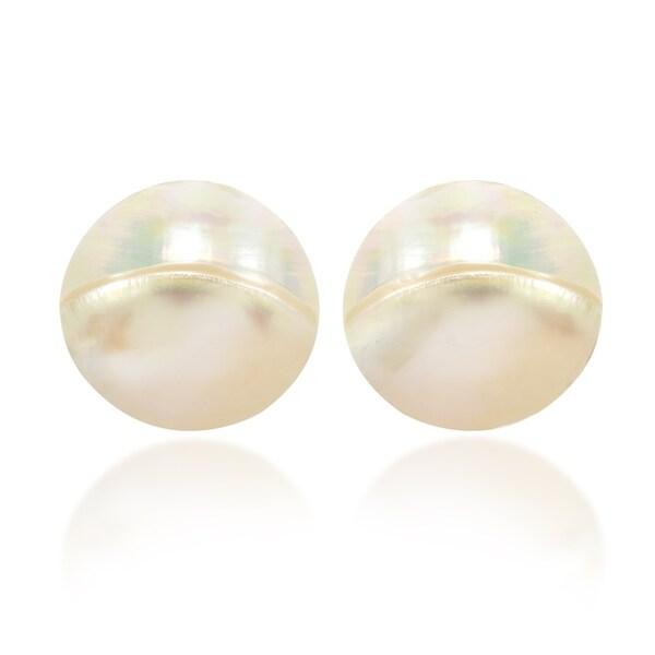 316f3886b Shop Handmade Serene Glow Heart of Nautilus Shell Post Earrings ...