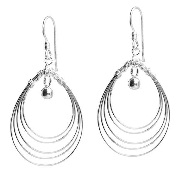 Trendy Multi Oval Wire Silver Dangle Earrings (Thailand)