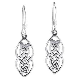 Handmade Nice Celtic Drop Sterling Silver Dangle Earrings (Thailand)