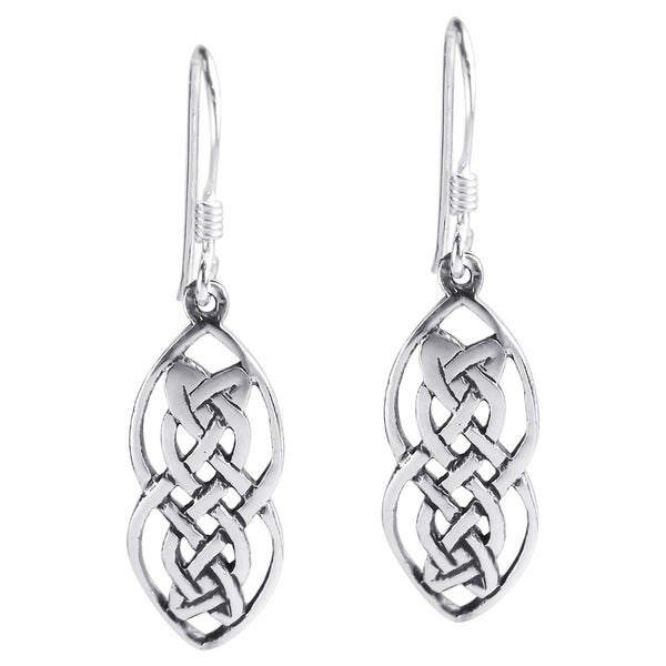 Handmade Nice Celtic Drop Sterling Silver Dangle Earrings (Thailand)