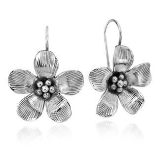 Handmade Beautiful Detailed 3D Flower Silver Earrings (Thailand)