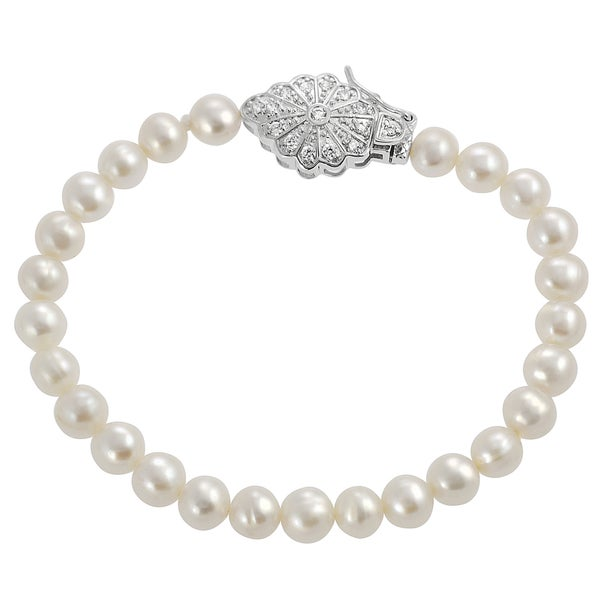 Journee Collection Sterling Silver Simulated Pearl and Cubic Zirconia Tennis Bracelet