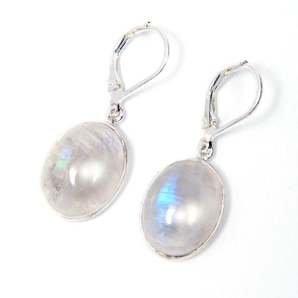 Handmade Silverplate Rainbow Moonstone Earrings (India)