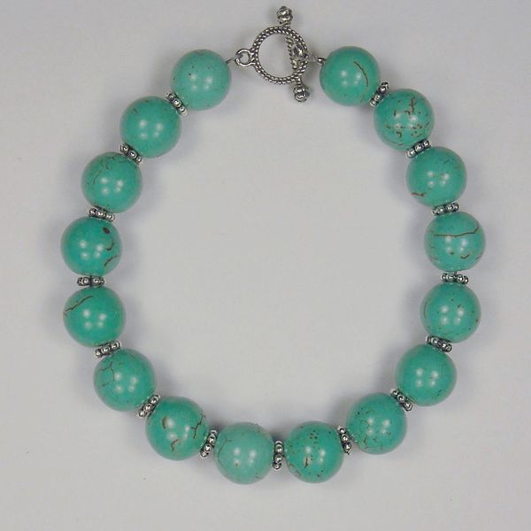 Jewelry by Dawn Round Turquoise Magnesite And Pewter Bracelet