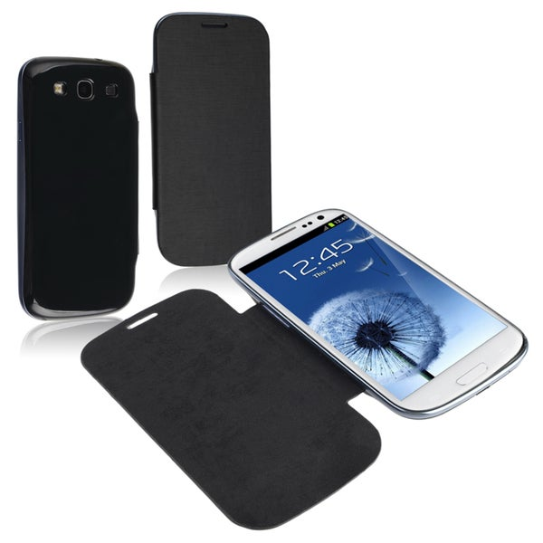 BasAcc Black Leather Case for Samsung Galaxy SIII/ S3