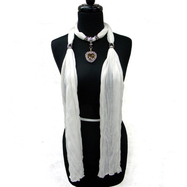 Fashion Jewelry Scarf White with Topaz Heart Pendant