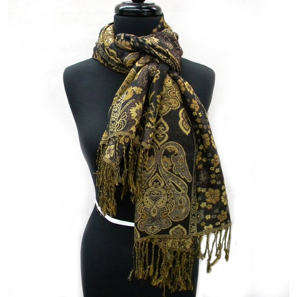 Coffee Brown Tapestry Style Fashion Scarf with Golden Highlights