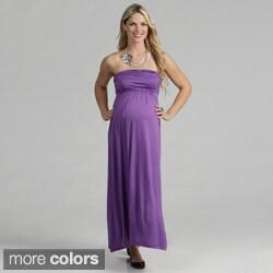 24/7 Comfort Apparel Women's Maternity Strapless Maxi Dress