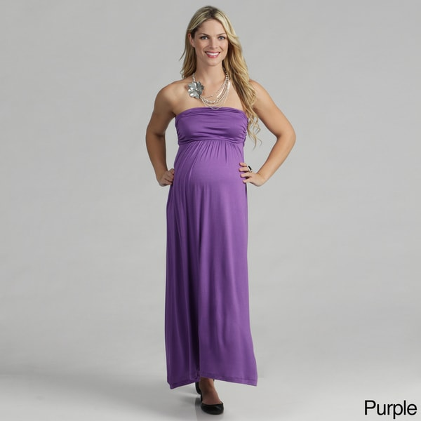 24/7 Comfort Apparel Women's Maternity Strapless Maxi Dress