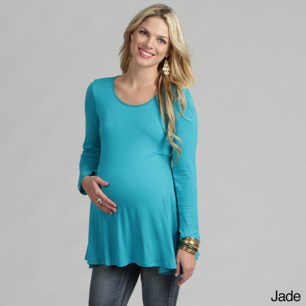24/7 Comfort Apparel Women's Long-sleeve Crewneck Maternity Tunic Top