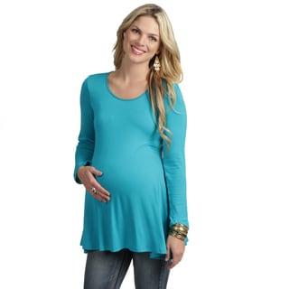 24/7 Comfort Apparel Women's Long-sleeve Crewneck Maternity Tunic Top (Option: Brown)