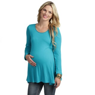 24/7 Comfort Apparel Women's Long-sleeve Crewneck Maternity Tunic Top (Option: Brown)