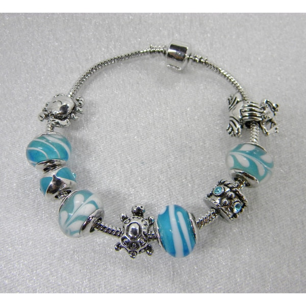 Blue and Silver Toned Charm Bracelet