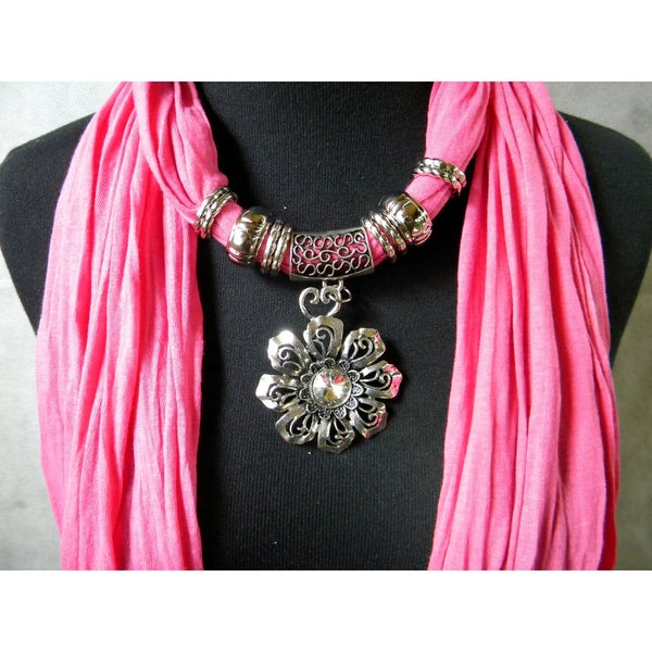 Pink Fashion Scarf Filigree Flower Pendant