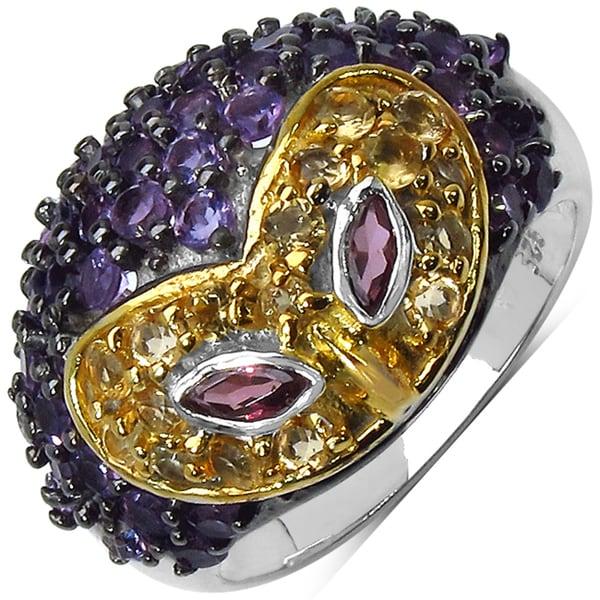Malaika Sterling Silver Rhodolite Mask Ring