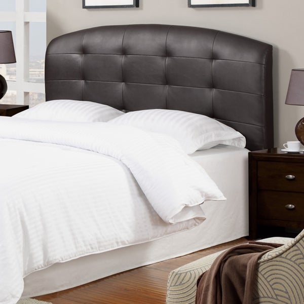 Dark Coffee Bicast Leather Tufted Queen Size Headboard