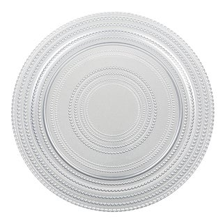 IMPULSE! Dot 4-piece Silver Charger Plate Set