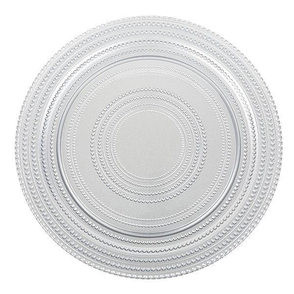 'Dot' 4-piece Silver Charger Plate Set