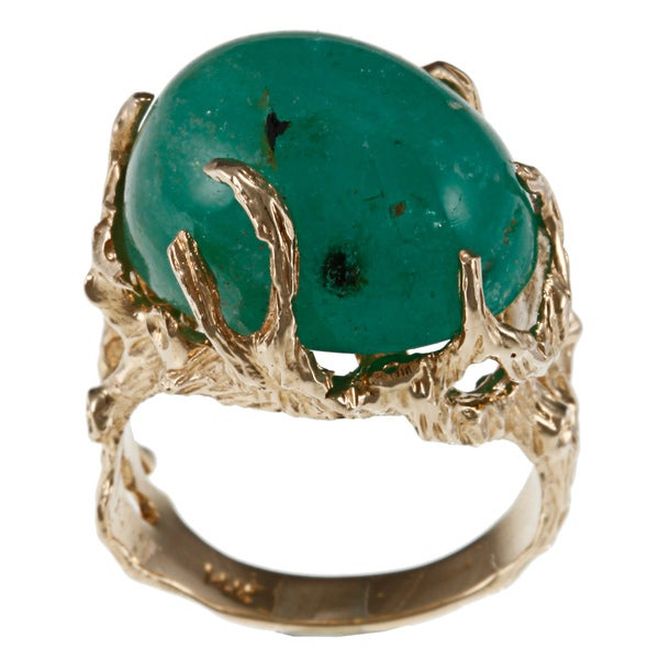 14k Yellow Gold Nugget Style Emerald Cocktail Ring