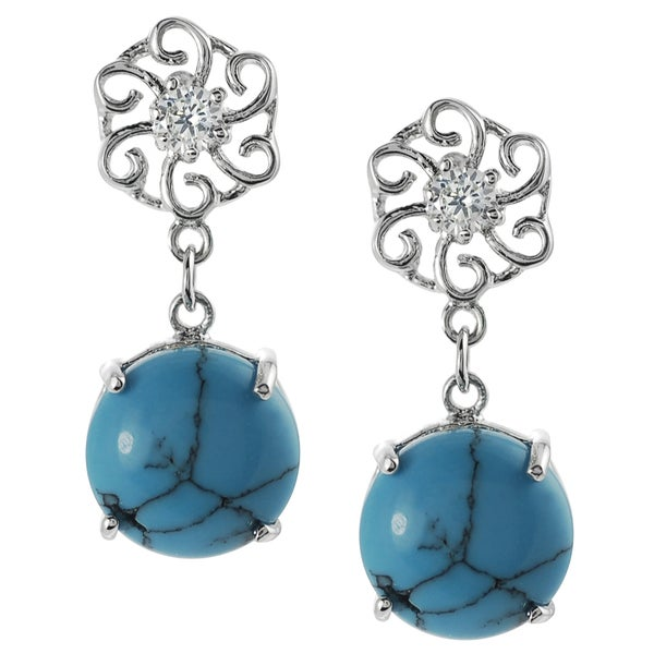Journee Collection  Silver Simulated Turquoise and Cubic Zirconia Dangle Earrings