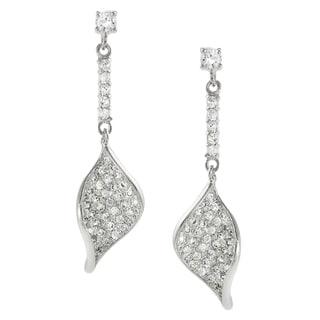 Journee Collection Sterling Silver Cubic Zirconia Scoop Twist Dangle Earrings