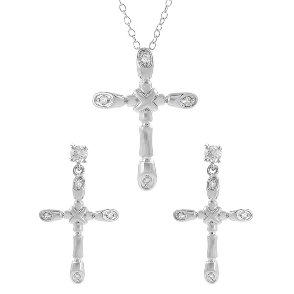 Journee Collection  Sterling Silver Cubic Zirconia Holy Cross Jewelry Set