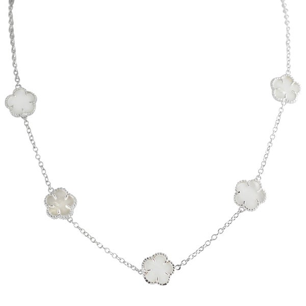 Journee Collection Sterling Silver White Mother of Pearl Inlay Flower Necklace