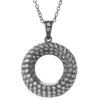 Journee Collection  Rhodium-plated Sterling Silver Cubic Zirconia Deep Set Circle Necklace
