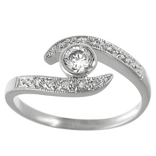 Journee Collection  Sterling Silver White Cubic Zirconia Suspended Solitaire Ring