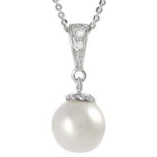 Journee Collection Sterling Silver Faux Pearl Cubic Zirconia Drop Necklace