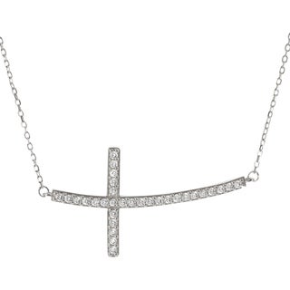 Journee Collection Sterling Silver Cubic Zirconia Holy Cross Necklace
