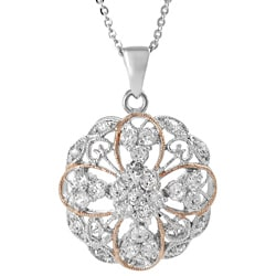 Journee Collection  Two-tone Goldplated Silver Cubic Zirconia Lace Disc Necklace