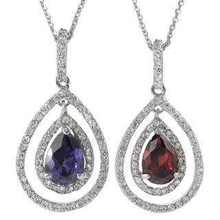 Journee Collection Sterling Silver Cubic Zirconia Accented Drop Necklace