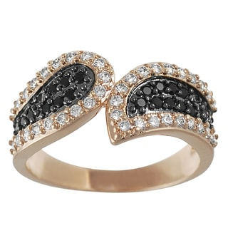 Journee Collection  Rose Goldplated Silver Black and White Cubic Zirconia Swoop Ring