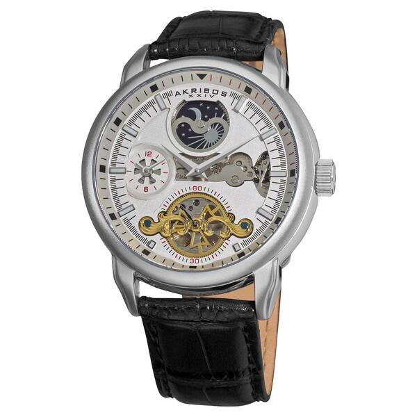 Akribos XXIV Men's Mechanical Dual Time Open Heart Leather Black Strap Watch