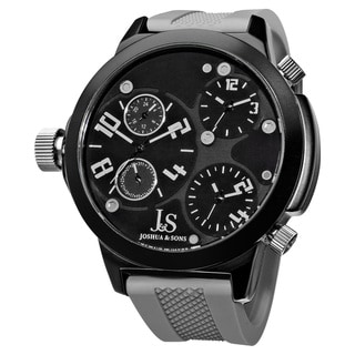 Joshua & Sons Quartz Triple Time Zone Rubber Grey Strap Watch