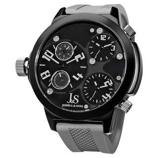 Joshua & Sons Men's Quartz Triple Time Zone Rubber Grey Strap Watch