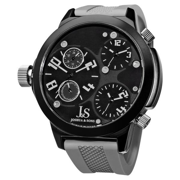 Joshua & Sons Men's Quartz Triple Time Zone Rubber Grey Strap Watch with FREE GIFT