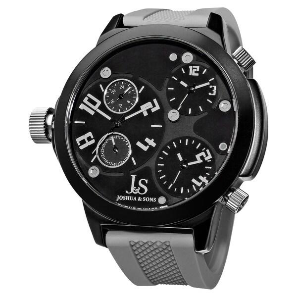 Joshua & Sons Quartz Triple Time Zone Rubber Grey Strap Watch