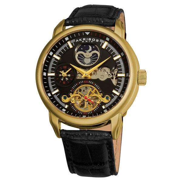 Akribos XXIV Men's Mechanical Dual Time Open Heart Leather Gold-Tone Strap Watch