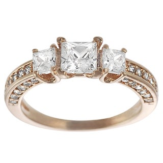 Journee Collection  Rose Goldplated Silver Princess-cut Cubic Zirconia 3-stone Ring