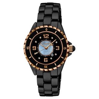Akribos XXIV Women's Ceramic Japanese Quartz Date Diamond Watch