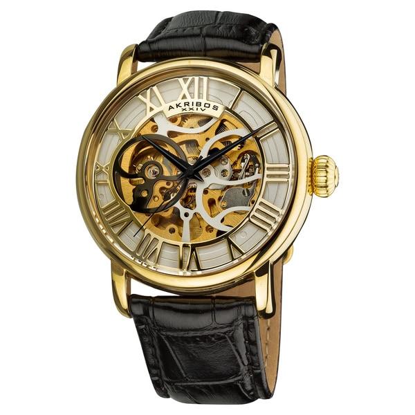 Akribos XXIV Men's Automatic Skeleton Round Leather Gold-Tone Strap Watch with Gift Box - Black