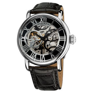 Akribos XXIV Men's Mechanical Skeleton Round Leather Silver-Tone Strap Watch with Gift Box - Black