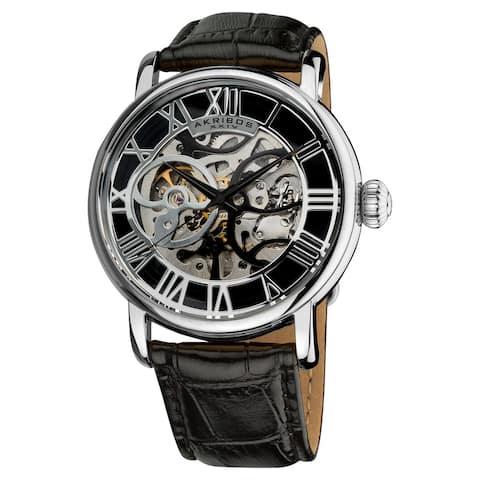 Akribos XXIV Men's Mechanical Skeleton Round Leather Silver-Tone Strap Watch - black